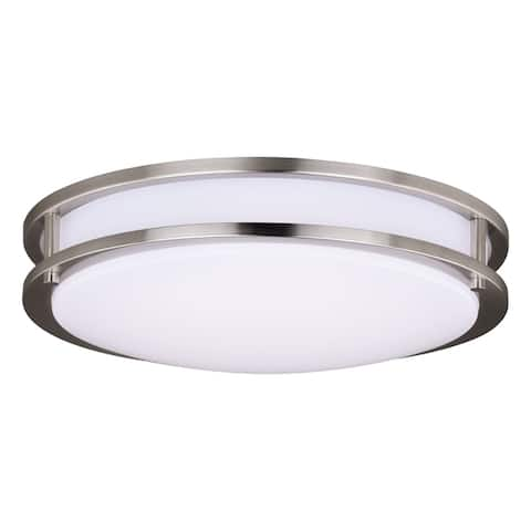 Horizon 15.75-in W LED Satin Nickel Flush Mount Ceiling Light Fixture White Shade - 15.75-in W x 4-in H x 15.75-in D