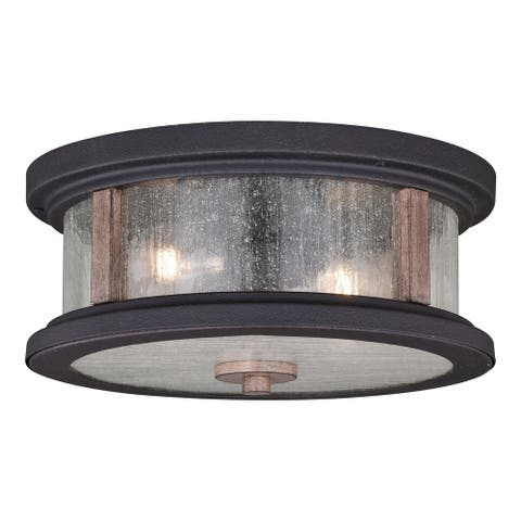 Cumberland Rustic Wood Round Outdoor Flush Mount Ceiling Light Clear Glass - 13-in W x 6-in H x 13-in D