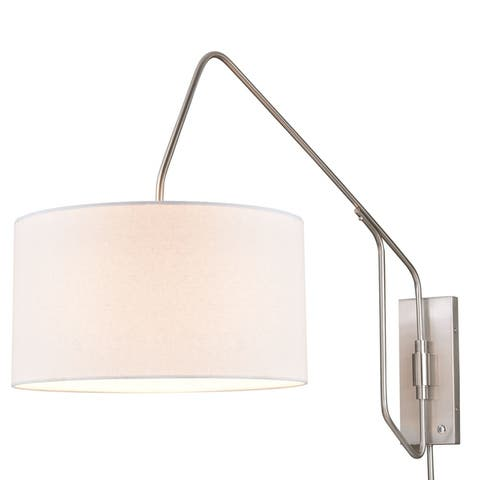 Marcin 46.5 inch Plug-In Satin Nickel Swing Arm Wall Lamp Cream Linen Drum Shade - 18-in W x 27.5-in H x 46.5-in D