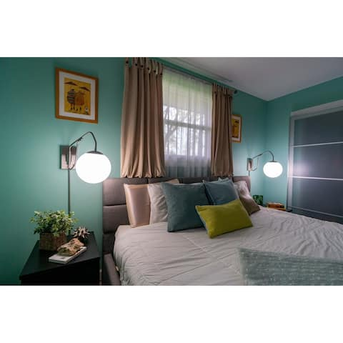 Marcin 20.5 inch Plug-In Satin Nickel Swing Arm Wall Lamp White Glass Globe - 10-in W x 15.5-in H x 20.5-in D