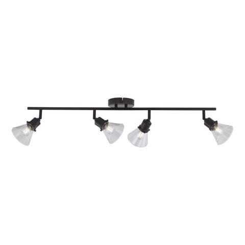 Fulton 4 Light LED Bronze Adjustable Ceiling Spot Light Clear Glass - 36-in W x 8-in H x 5-in D