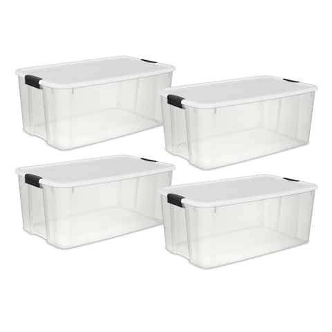 Case of 4 Sterilite 116 Quart Ultra Latch Boxes
