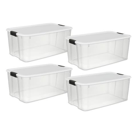 STERILITE 116 Quart Ultra Latch Boxes, Clear - Case of 4