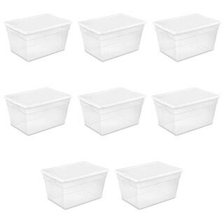 Case of 8 Clear 56 Quart Sterilite Storage Boxes