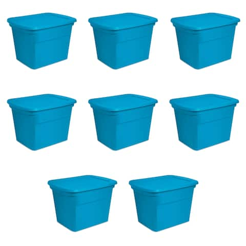 Sterilite Storage Bins 18 Gallon Blue Morpho - Case of 8