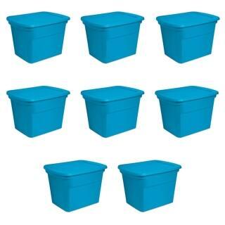 Sterilite Storage Bins 18 Gallon Blue Morpho - Case of 8
