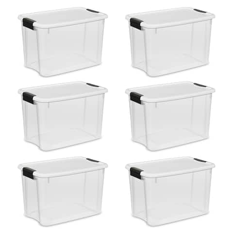 Sterilite Storage Bins 30 Quart Ultra Latch & Carry White - Case of 6