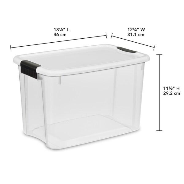 STERILITE 30 Quart Ultra Latch Boxes, Clear - Case of 6