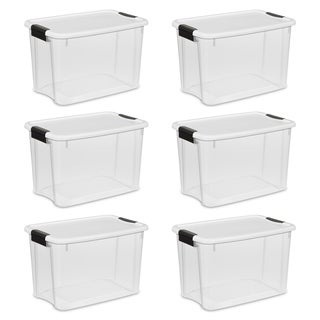 Case of 6 White/Clear 30 Quart Storage Bins.  Click link below for more options from Sterilite