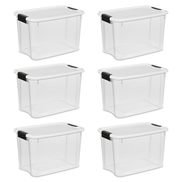 STERILITE 30 Quart Ultra Latch Boxes, Clear - Case of 6. Opens flyout.