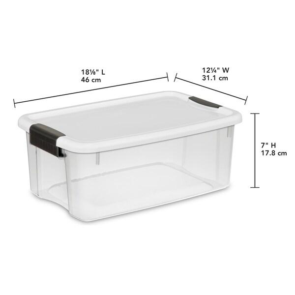 STERILITE 18 Quart Ultra Latch Boxes, Clear - Case of 6