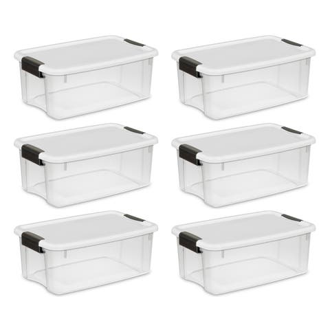 Sterilite Storage Bins 18 Quart Ultra Latch & Carry White - Case of 6