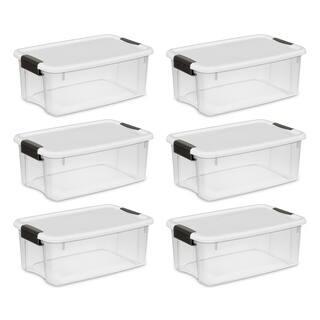 Sterilite Storage Bins 18 Quart Ultra Latch & Carry White - Case of 6