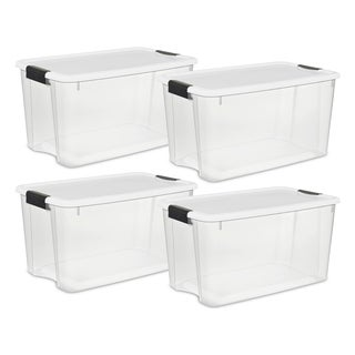 Case of 4 White/Clear 70 Quart Storage Bins.  Click link below for more options from Sterilite
