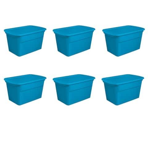 Case of 6 Blue Morpho Sterilite 30 Gallon Storage Totes