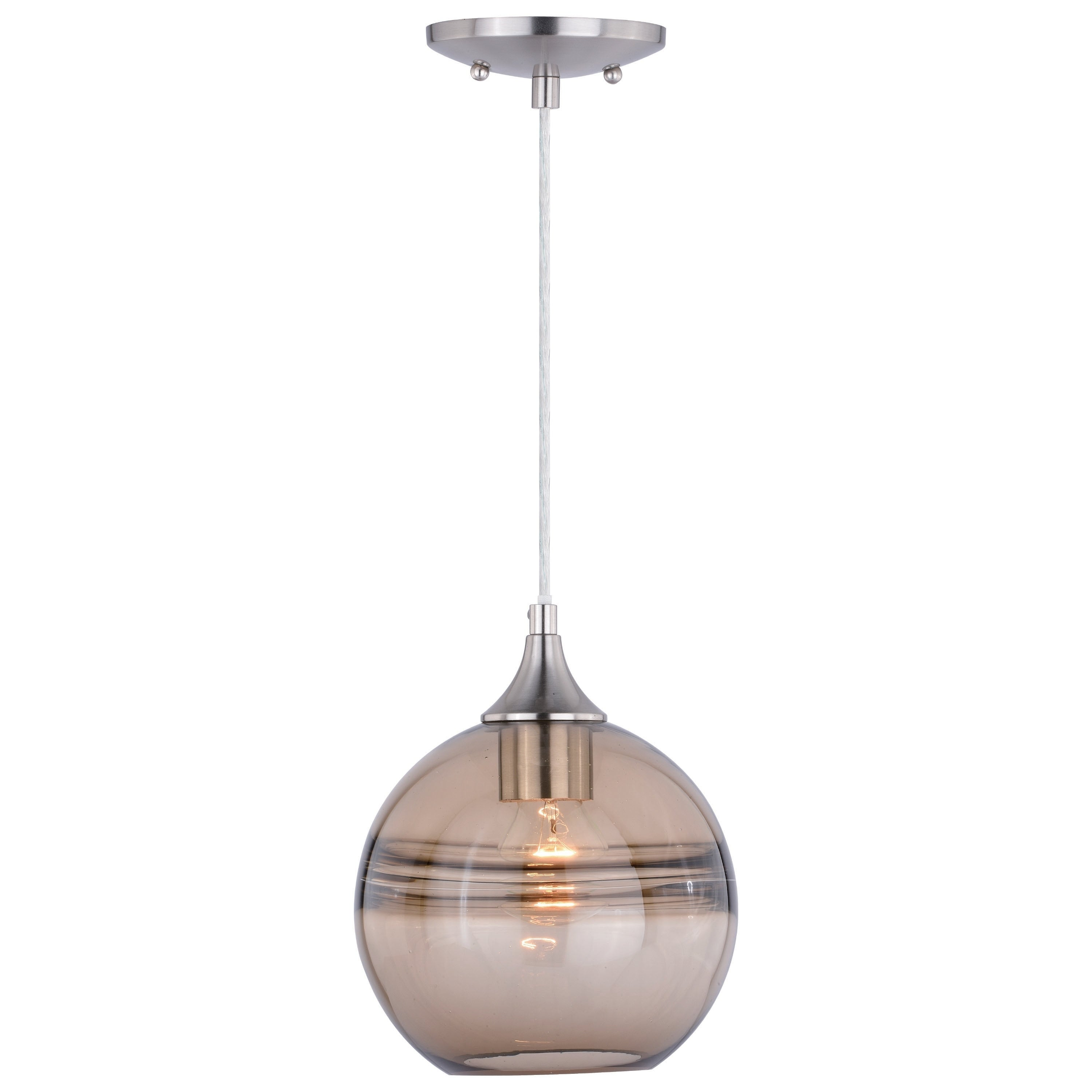 Milano Satin Nickel Globe Mini Pendant Ceiling Light Amber Fog Glass 8 In W X 9 25 In H X 8 In D Overstock 28387032