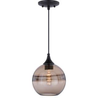 Link to Milano Bronze Globe Mini Pendant Ceiling Light Amber Fog Glass - 8-in W x 9.25-in H x 8-in D Similar Items in Pendant Lights