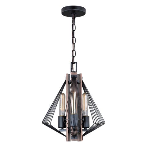 Dearborn 3 Light Black Industrial Wire Cage Geometric Pendant - 12.5-in W x 15-in H x 12.5-in D