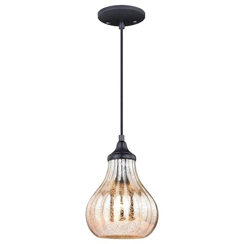 Elby Bronze Mini Pendant Ceiling Light Mercury Glass - 7.5-in W x 9.5-in H x 7.5-in D