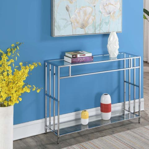 Silver Orchid Accord Glass Console Table