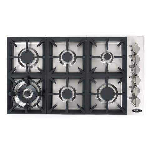 36 in. Gas Cooktop in Stainless Steel with 6 Italian Made Burners