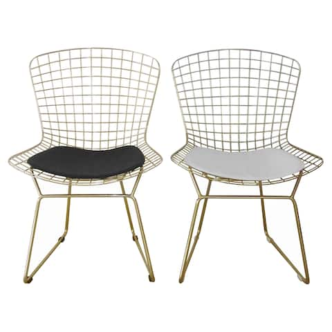 Gold Shuttle Dining Chair, Faux Leather (Set of 2)