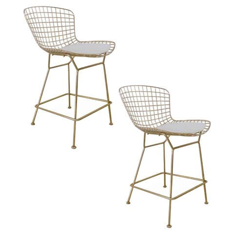 Gold Shuttle Counter Stool, Faux Leather (Set of 2)