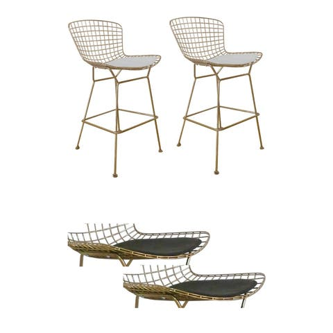 Gold Shuttle Bar Stool, Faux Leather (Set of 2)