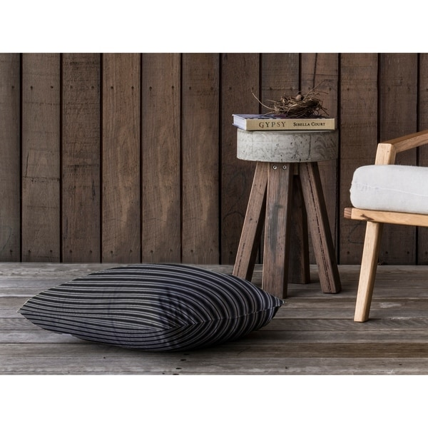 CLASSIC STRIPE CHARCOAL SMALLSCALE Floor Pillow By Kavka Designs