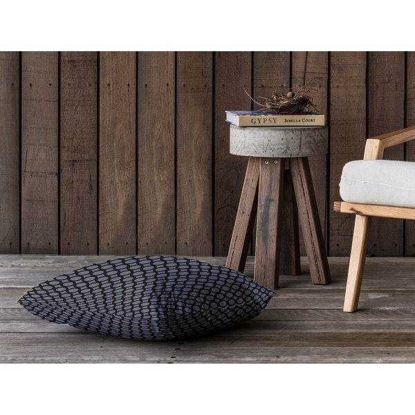 SIMPLE CIRCLES BLACK AND GREY Floor Pillow By Kavka Designs
