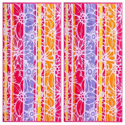 Floral Medley Double Velour Jacquard Beach Towel 2 Piece Set - 34 x 68