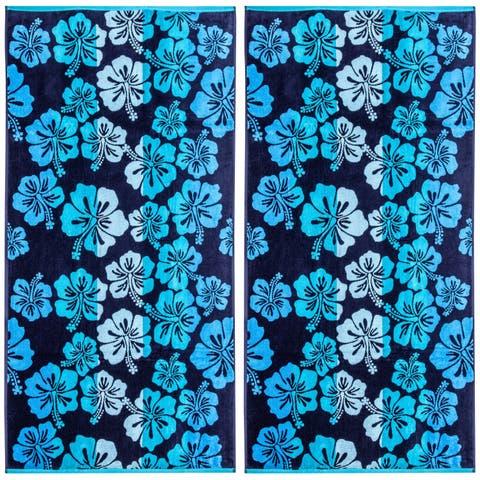 Hibiscus Double Velour Jacquard Beach Towel 2 Piece Set - 34 x 68