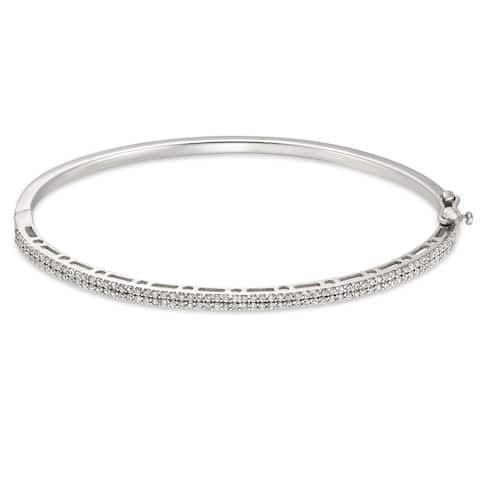 Forever Last Sterling silver Hinged Bangle With Cz