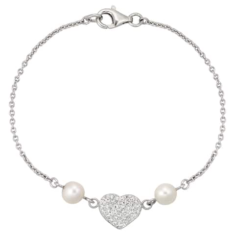 Forever Last Sterling silver Chain Bracelet Pearl And Crystal Heart
