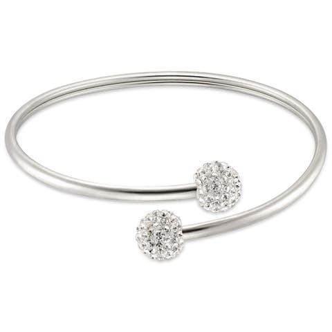 Forever Last Sterling silver Bypass Crystal Balls Bangles