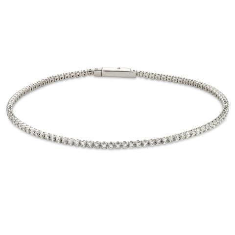 """Forever Last Sterling silver White CZ Tennis Bracelet White Mount 7.5"""""""
