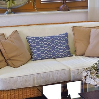 Two Color Lined Chevrons Lumbar Pillow