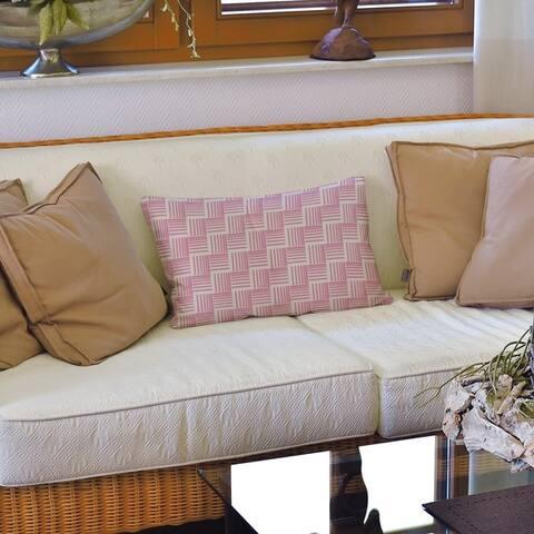 Classic Basketweave Stripes Lumbar Pillow