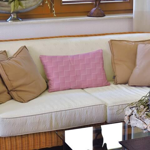 Monochrome Basketweave Stripes Lumbar Pillow