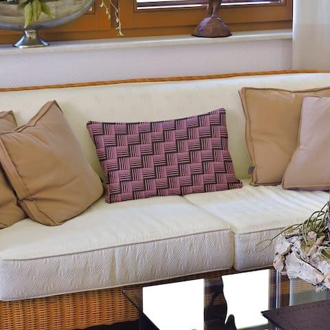 Black Contrast Basketweave Stripes Lumbar Pillow