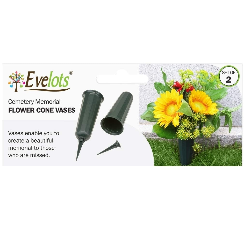 Evelots Cemetery Cone Vases-Sturdy Steel Stakes-10 Inch-Graveside Memorial-Set//6