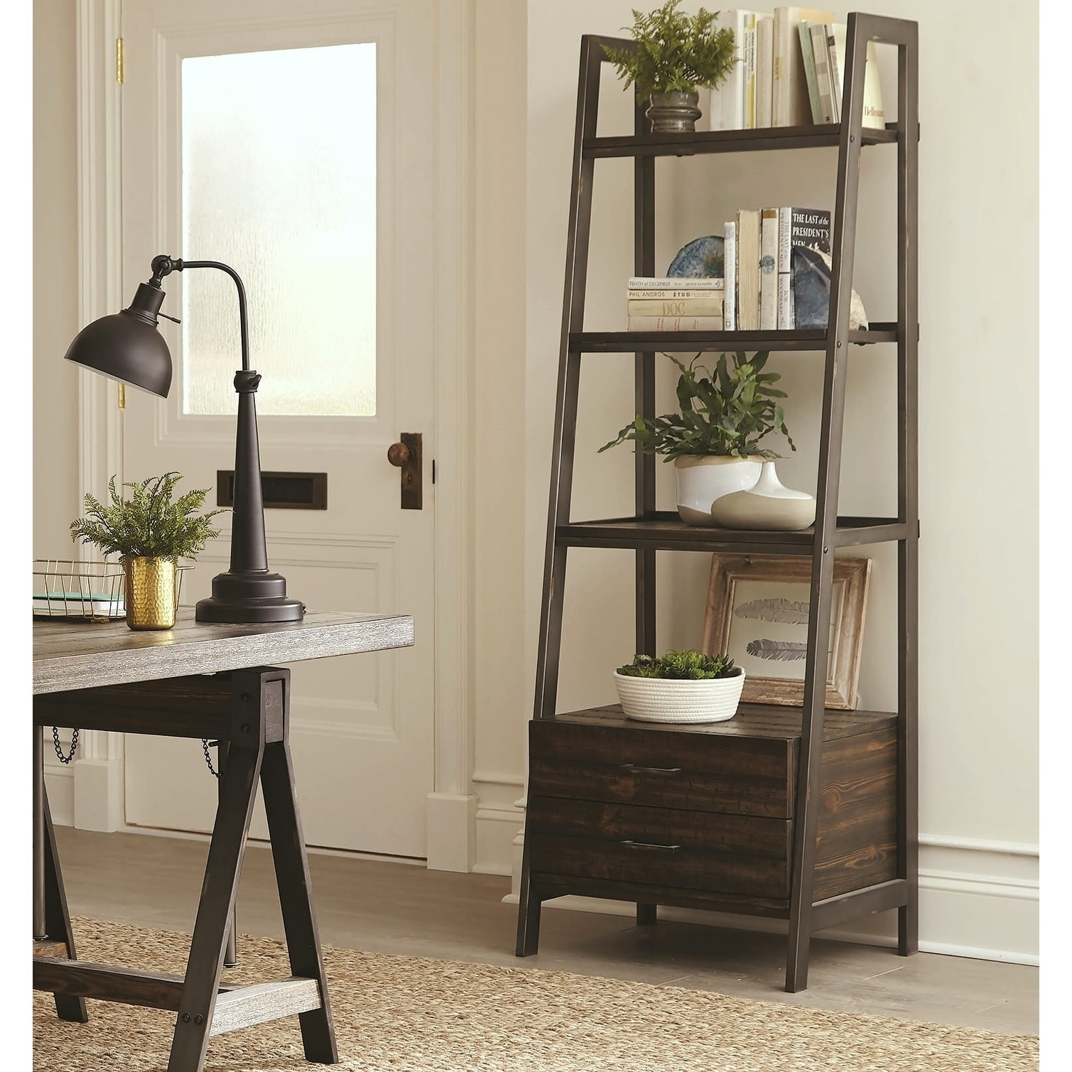 Rustic Industrial Design Display Bookcase With Storage Drawers On Sale Overstock 28387779