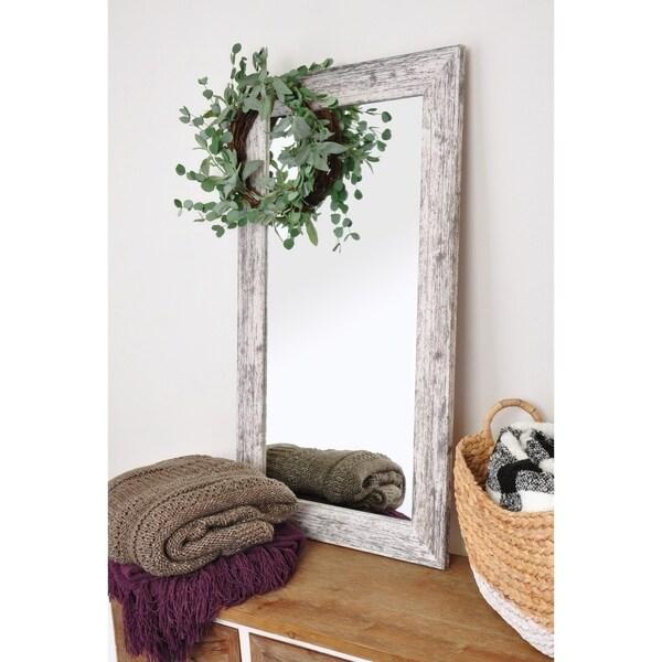 2 Piece Farmhouse Mirror and Wreath Set - Distressed White - 21.5 x 38.25