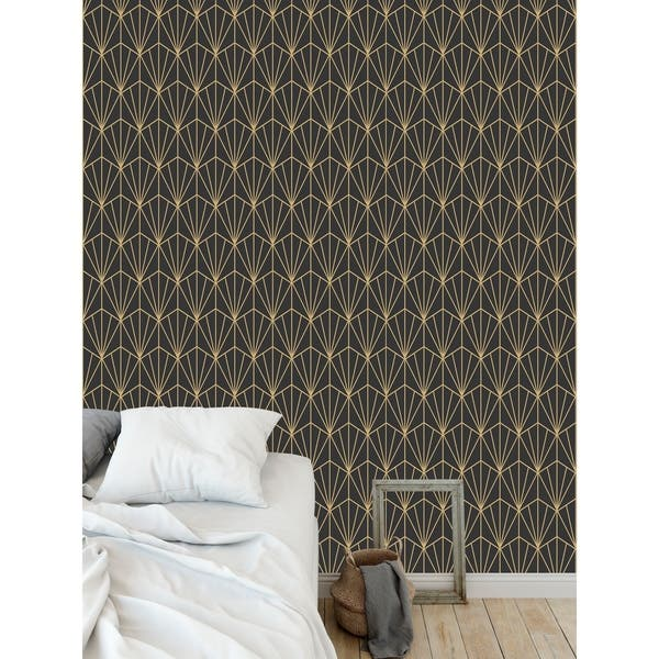 Shop Art Nouveau Charcoal And Gold Wallpaper By Kavka Designs
