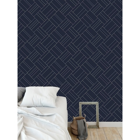 INTERSECTION NAVY AND GOLD Wallpaper By Becky Bailey - 24X48