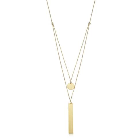 14k Yellow Gold Disc and Bar Layered Necklace (adjusts to 16 or 17 inches)