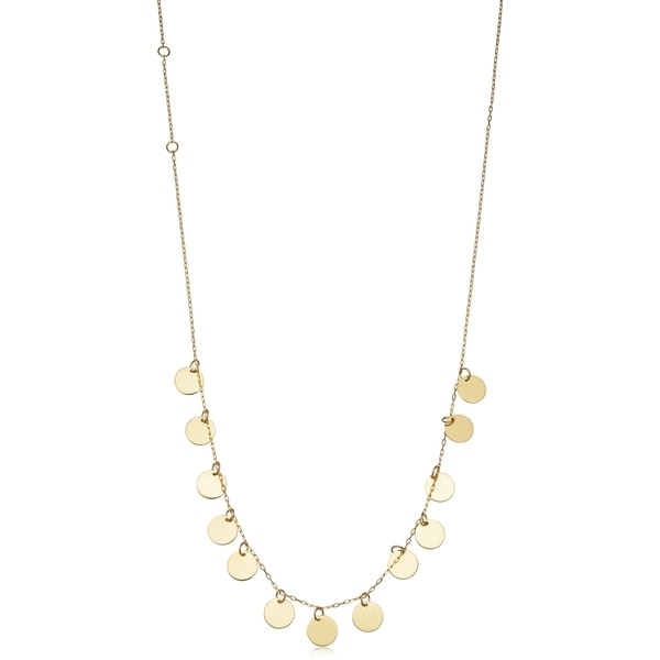 f402ac701735fe 14k Yellow Gold Discs Adjustable Length Choker Necklace (adjustable from 12  to 16 inches)