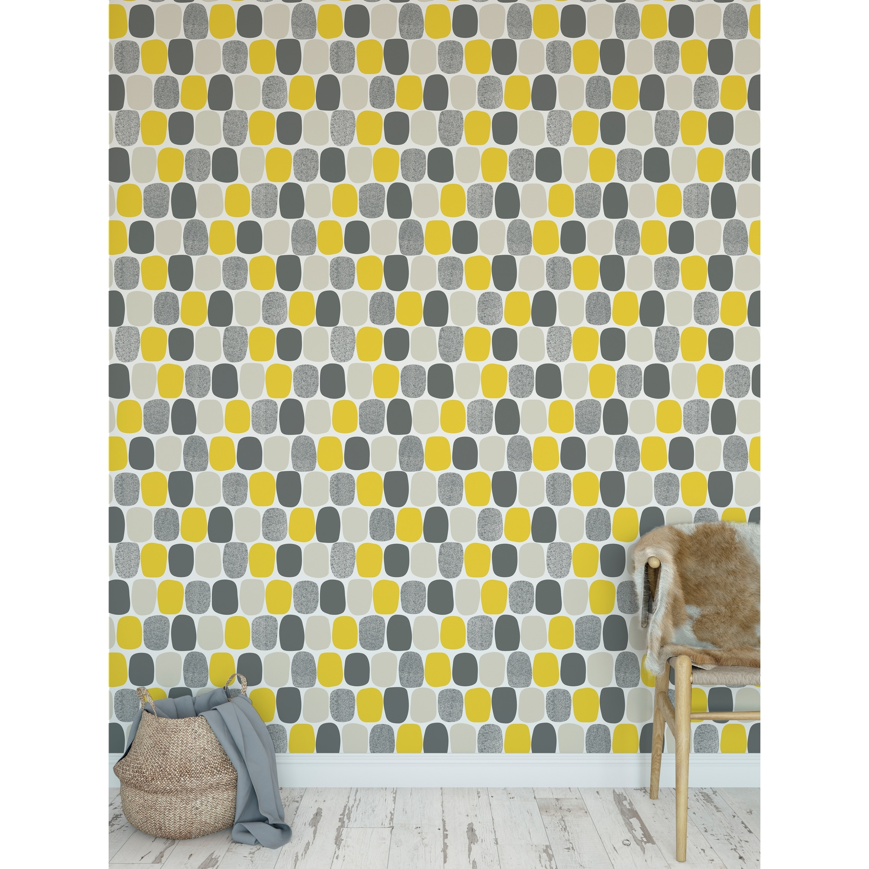 Shop Mid Century Ovals Yellow Peel And Stick Wallpaper By Kavka Designs Overstock 28388145
