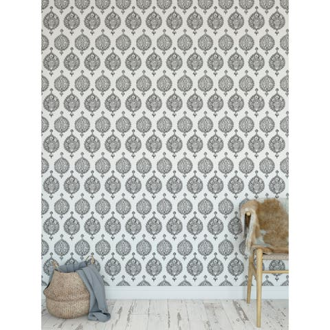 ENDANA GREY Peel and Stick Wallpaper By Becky Bailey