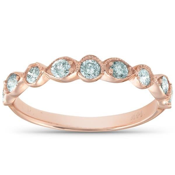 18f4a641451 Shop 14k Rose Gold 1/3 Ct TDW Diamond Wedding Ring Stackable Vintage ...
